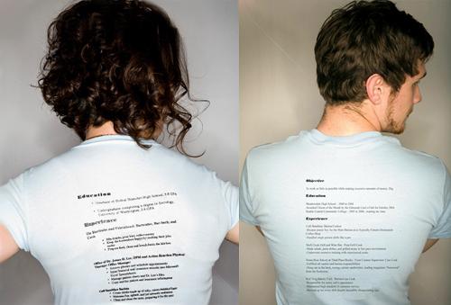 t shirt resume - Originelle Bewerbung