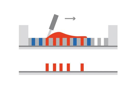 Grafik zum Druckverfahren Prinzip Durchdruck - Siebdruck
