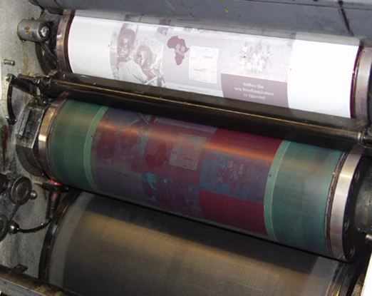 Foto von Offsetdruck-Walzen im Druckwerk | Druckplattenzylinder | Gummituchzylinder | Gegendruckzylinder