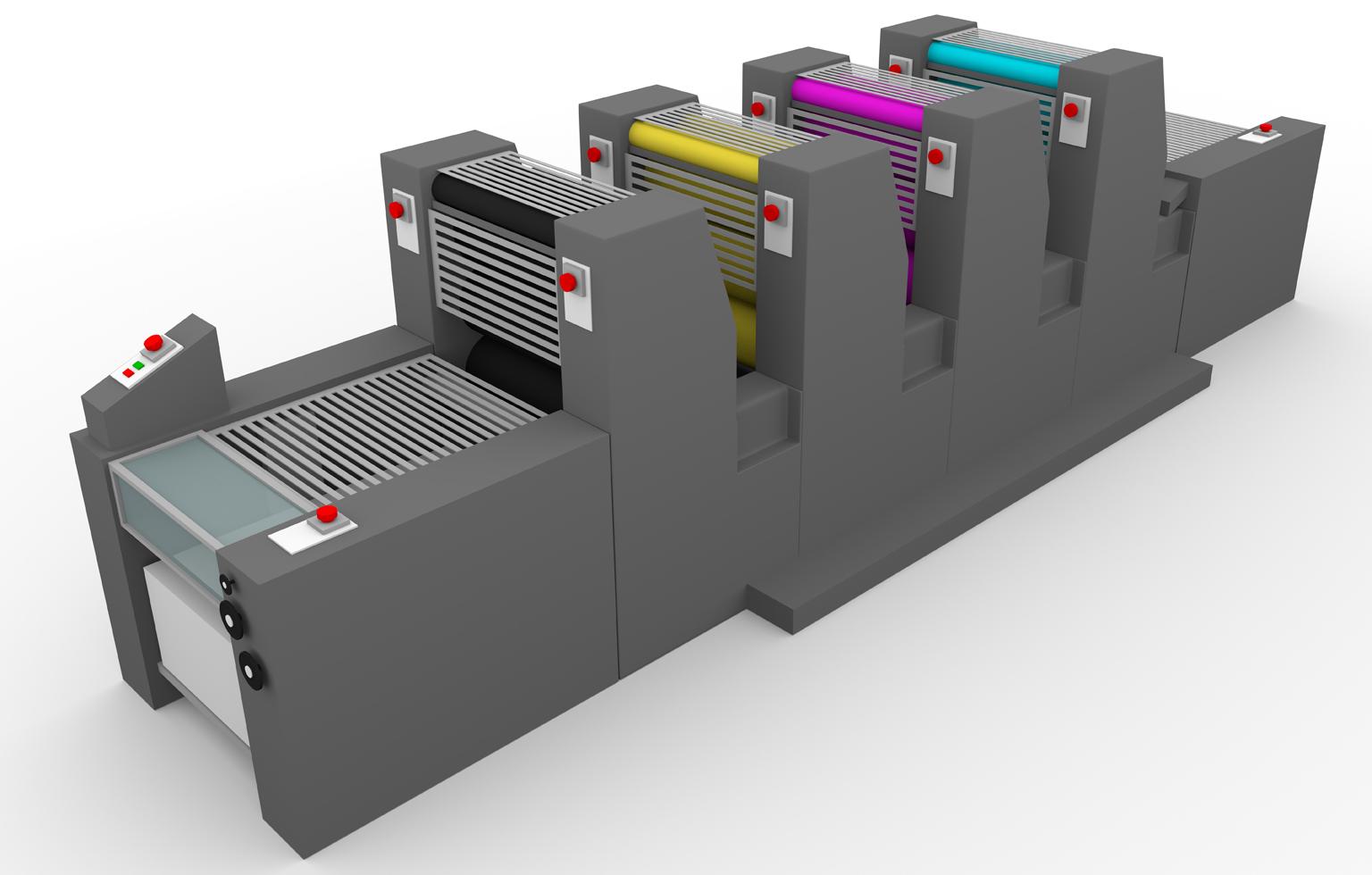Bogenoffset-Druckmaschine mit Bogenanleger und vier Druckwerken
